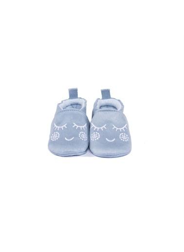 First Step Beyaz Nakışlı Patik Pudra Mavi